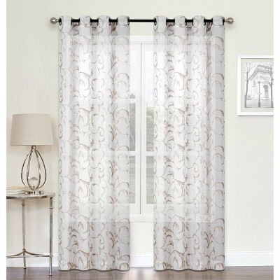 Kate Aurora Regal 2 Pack Floral Embroidered Sheer Grommet Curtains