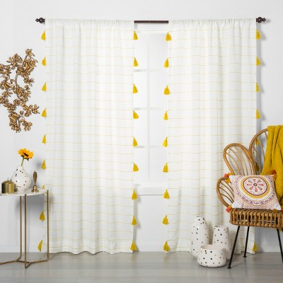 "84""x54"" Contrast Stripe Light Filtering Window Curtain Panel with Tassel Yellow/White - Opalhouse™"