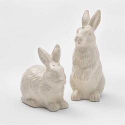 2pc Stoneware Bunny Salt and Pepper Shaker Set White - Threshold™