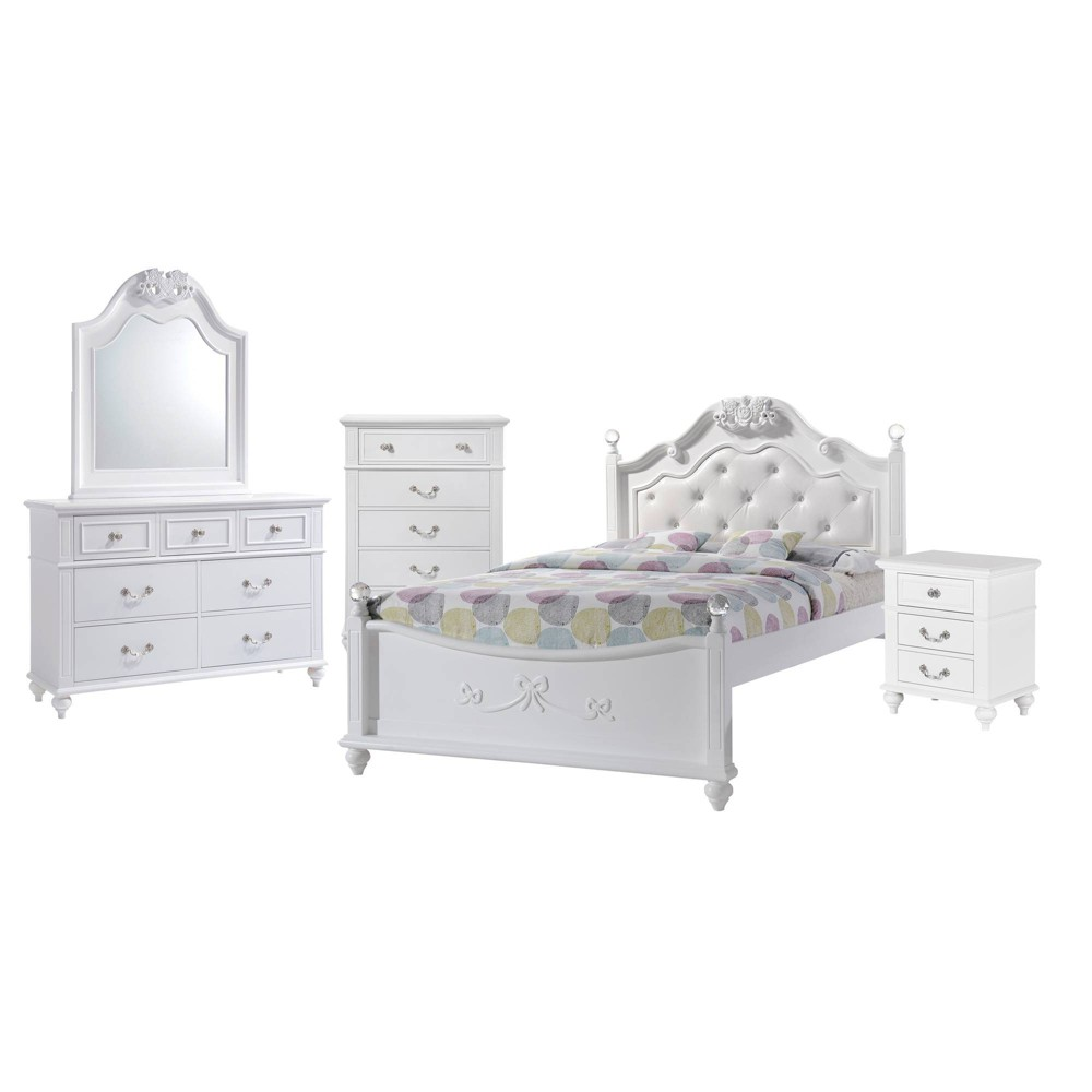 5pc Full Annie Platform Bedroom Set with Trundle White - Picket House Furnishings