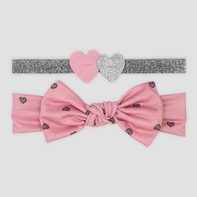 Baby Girls' 2pk Heart and Bow Headband - Just One You® made by carter's Pink