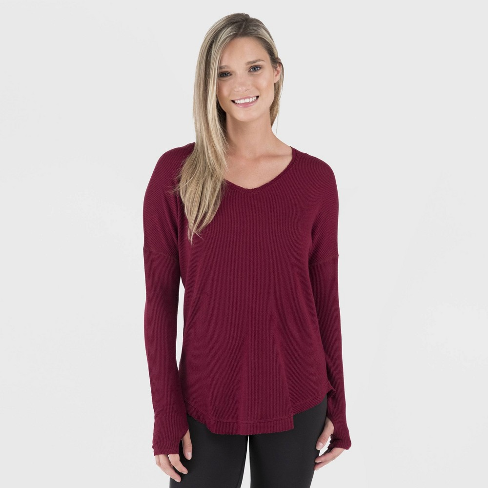 Image of Wander by Hottotties Women's Waffle Collection Lea Long Sleeve V-Neck - Pomegranate Pink M, Size: Medium, Red