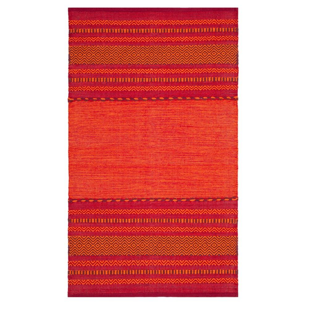 Orange Red Stripe Woven Accent Rug 3 X5 Safavieh