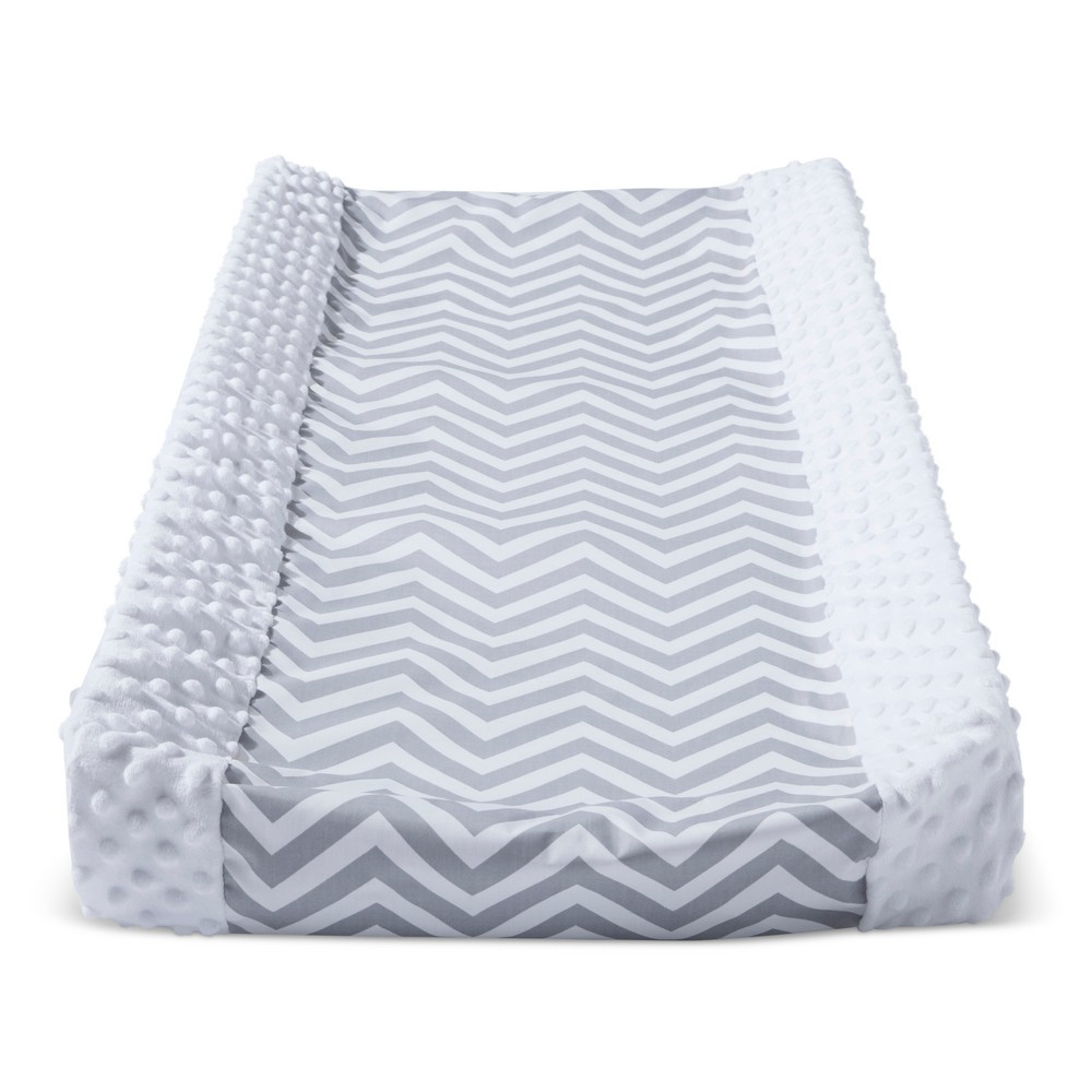 Wipeable Changing Pad Cover with Plush Sides Chevron - Cloud Island White/Gray