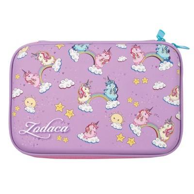 Zodaca Unicorn Pencil Case Pouch, Girls School Supplies Stationery, Purple