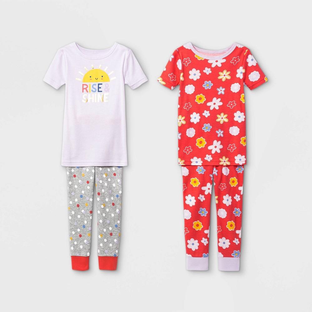 Toddler Girls 39 4pc Rise And Shine Pajama Set Cat 38 Jack 8482 Purple 4t