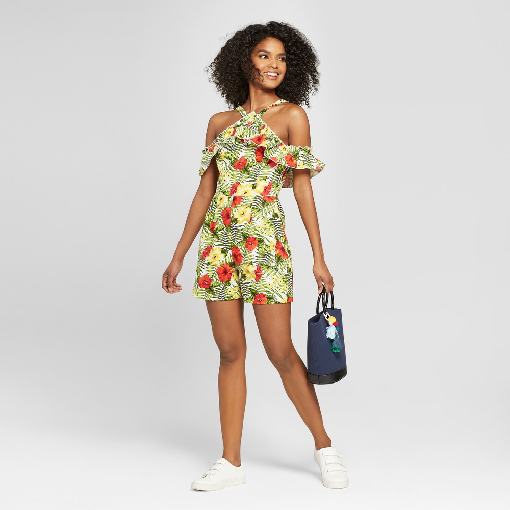 Women's Floral Print Off the Shoulder Ruffle Romper - XOXO (Juniors') Yellow/Red/Green M, Green/Red/Yellow was $59.0 now $26.54 (55.0% off)