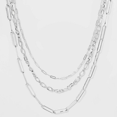 3 Row Paperclip Chain Necklace - A New Day™