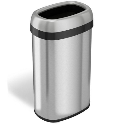 halo quality 16gal Oval Top Stainless Steel Trash Can and Recycle Bin with Dual Deodorizer