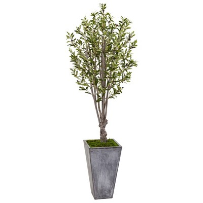 """72"""" Artificial Olive Tree in Stone Planter - Nearly Natural"""