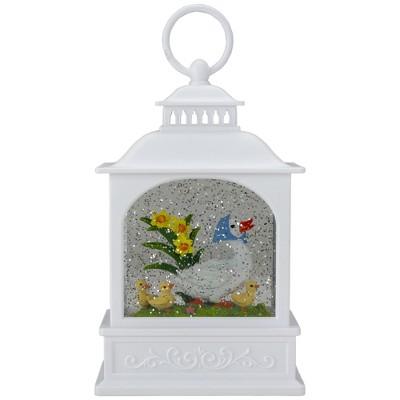 "Raz Imports 10"" White Duck Family Easter Lighted Glittering Snow Dome Lantern"