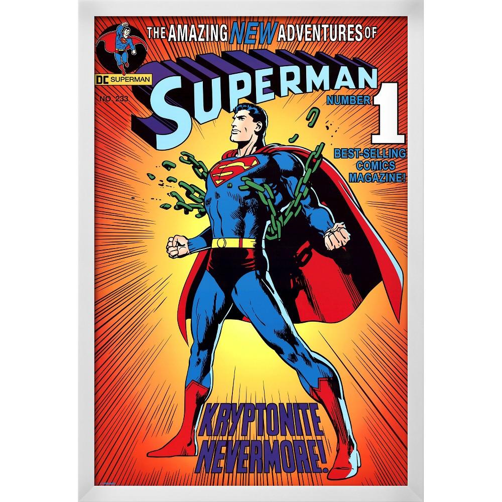 Superman, White Wood Framed Poster, Red