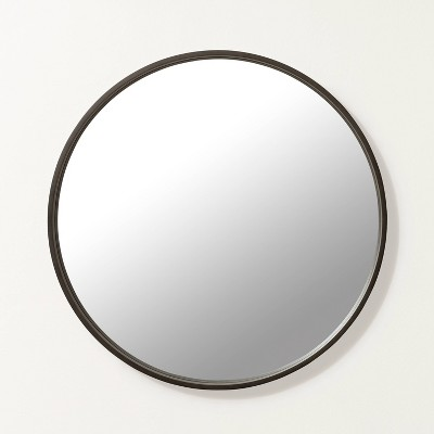 Large Round Wood Framed Mirror Black - Hearth & Hand™ with Magnolia