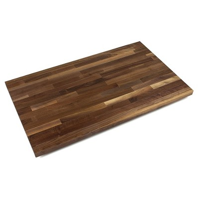 John Boos WALKCT-BL1825-O Blended Walnut Solid Wood Finish Natural Edge Grain Kitchen Cutting Board Island Top Butcher Block, 18 x 25 x 1.5 inches