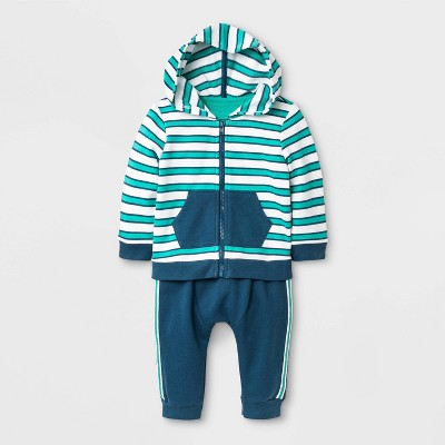 Baby Boys' Hoodie, Bodysuit and Bottom Set - Cat & Jack™ Blue/White/Green 6-9M