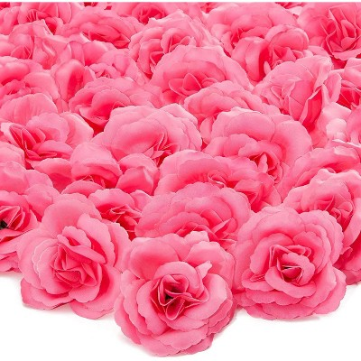 50 Pack Artificial Fake Silk Rose Flower Heads for Wedding Decoration, Bridal Bouquet, Home Decor - Dark Pink