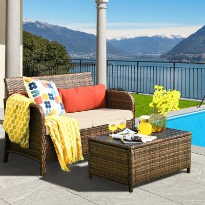 Costway 2PCS Patio Rattan Furniture Set Cushioned Loveseat Table Garden Deck