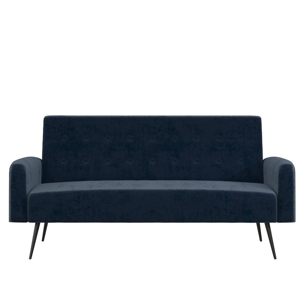 Image of Stevie Futon Convertible Sofa Bed & Couch Blue Velvet - Novogratz