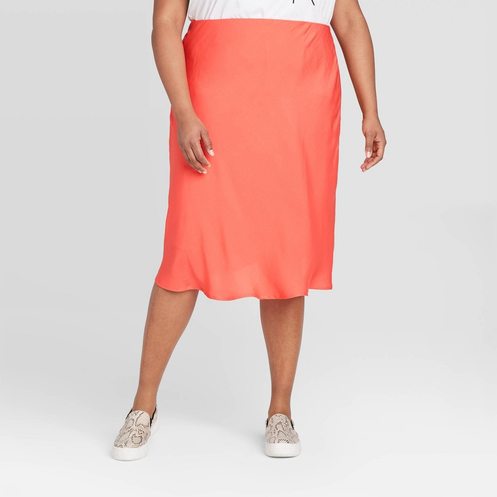 Women's Plus Size Satin Slip Skirt - A New Day Red 3X, Women's, Size: 3XL, Pink was $22.99 now $16.09 (30.0% off)