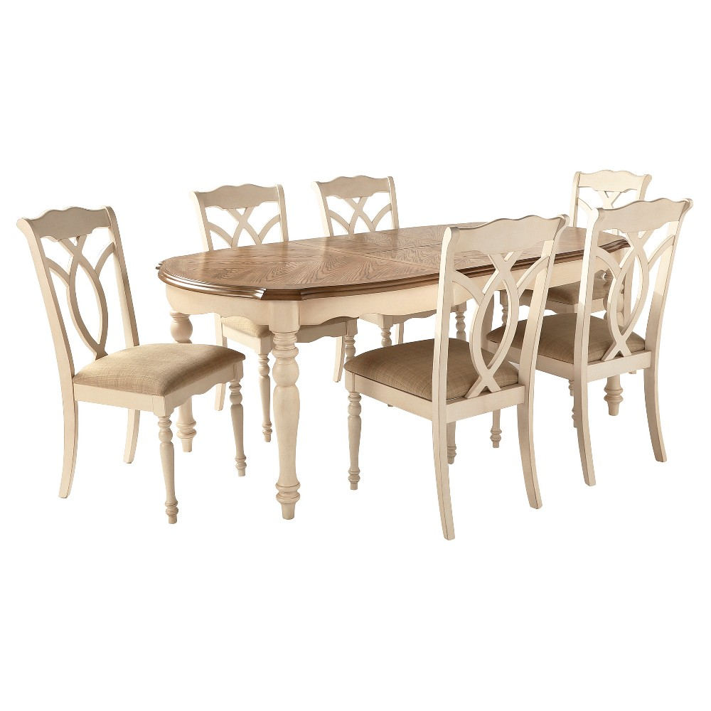 7 Piece Wakefield Extendable Dining Set Metal/Antique White - Inspire Q