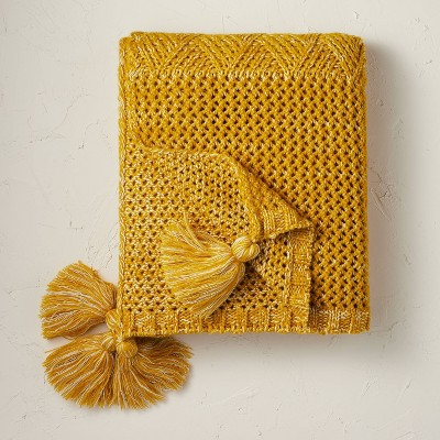 Heathered Knit Throw Blanket Gold - Opalhouse™ designed with Jungalow™