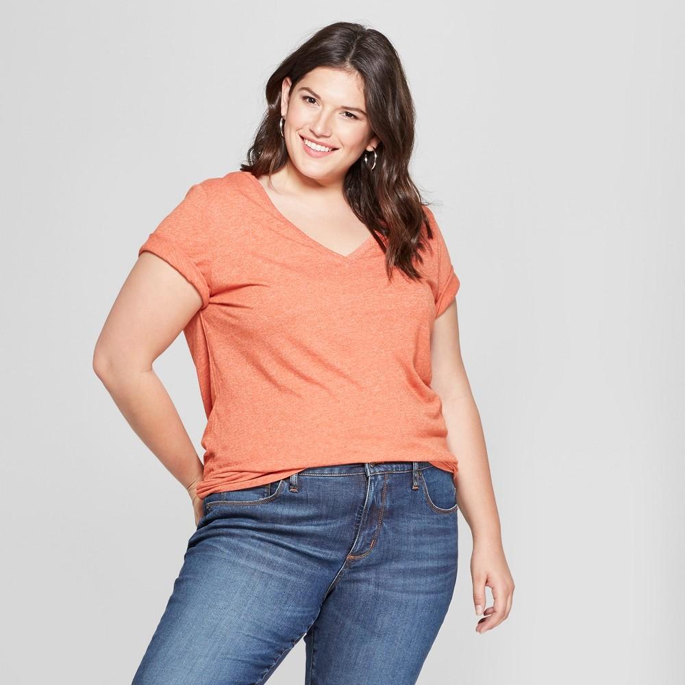Women's Plus Size V-Neck Short Sleeve T-Shirt - Ava & Viv Rust Heather 1X