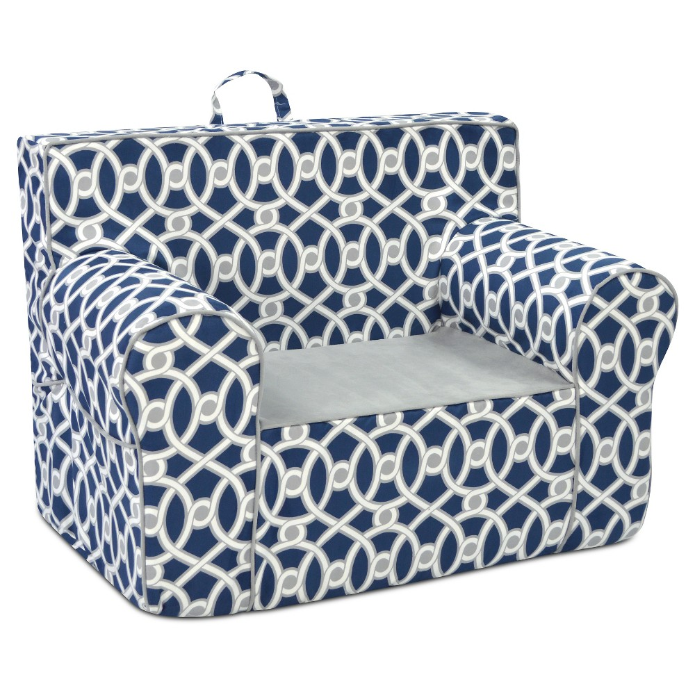 Tween Grab And Go Chair With Handle - Loopy Navy With Pebbles Seat & Welt Trim - Gray & White - Kangaroo Trading Co.