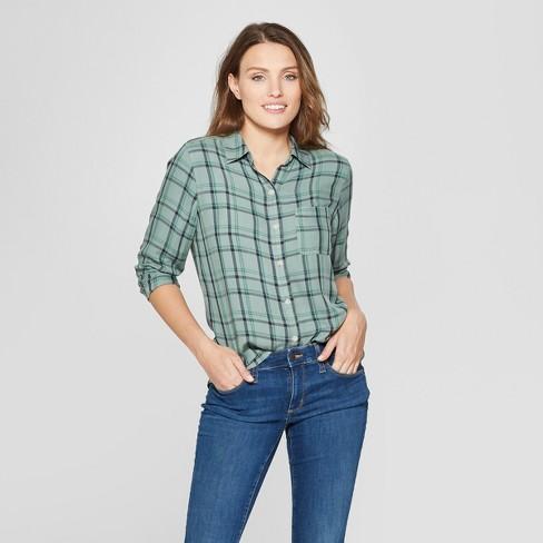 94f5be0b Women's Long Sleeve Plaid Shirt - Universal Thread™ Green Plaid : Target
