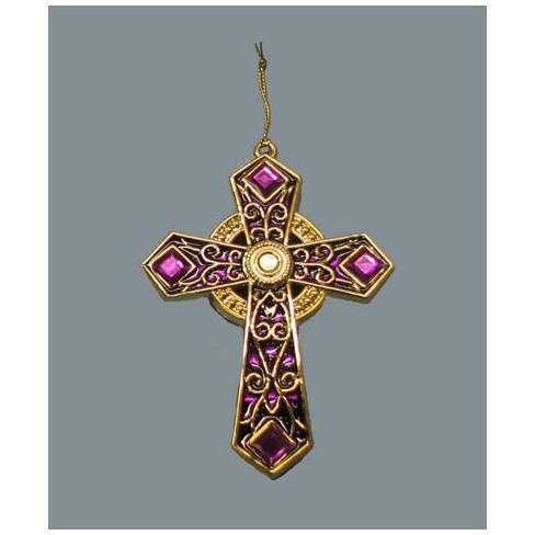 Kurt S Adler 4 75 Gold And Fuschia Jeweled Celtic Cross Christmas Ornament Target
