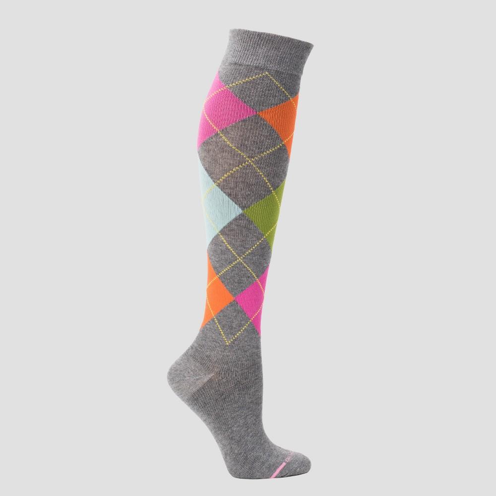 Vintage Socks | 1920s, 1930s, 1940s, 1950s, 1960s History Dr. Motion Womens Mild Compression Knee High Socks - Gray Argyle 4-10 $7.99 AT vintagedancer.com