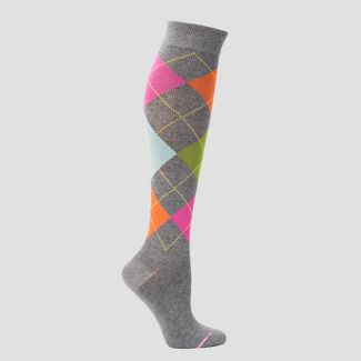 Dr. Motion Women's Mild Compression Argyle Knee High Socks - Gray 4-10