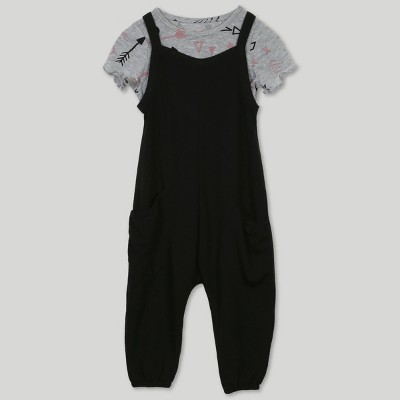 Afton Street Toddler Girls' 2pc Short Sleeve T-Shirt and Overall Set - Black 2T
