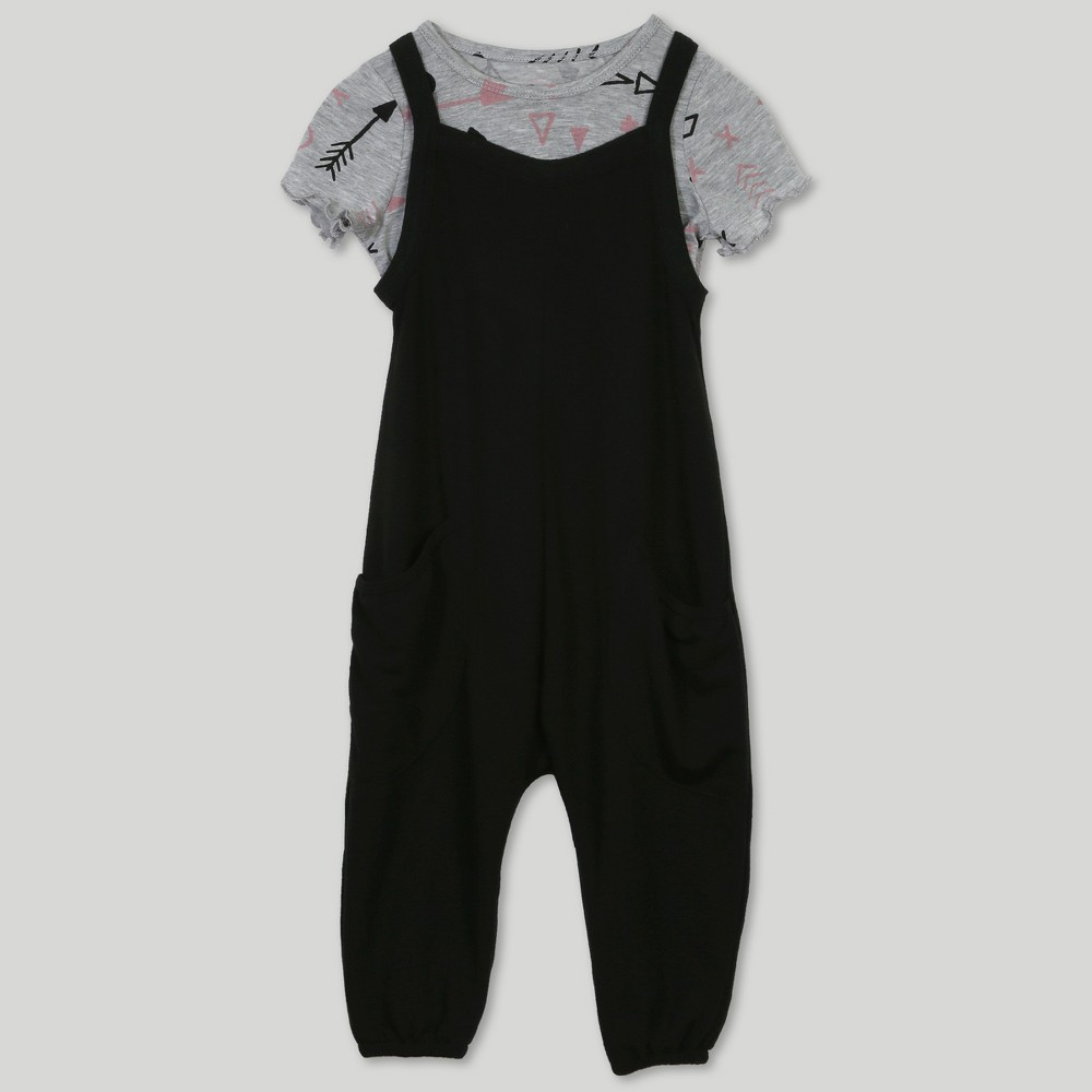 Afton Street Toddler Girls' 2pc Short Sleeve T-Shirt and Overall Set - Black 18M