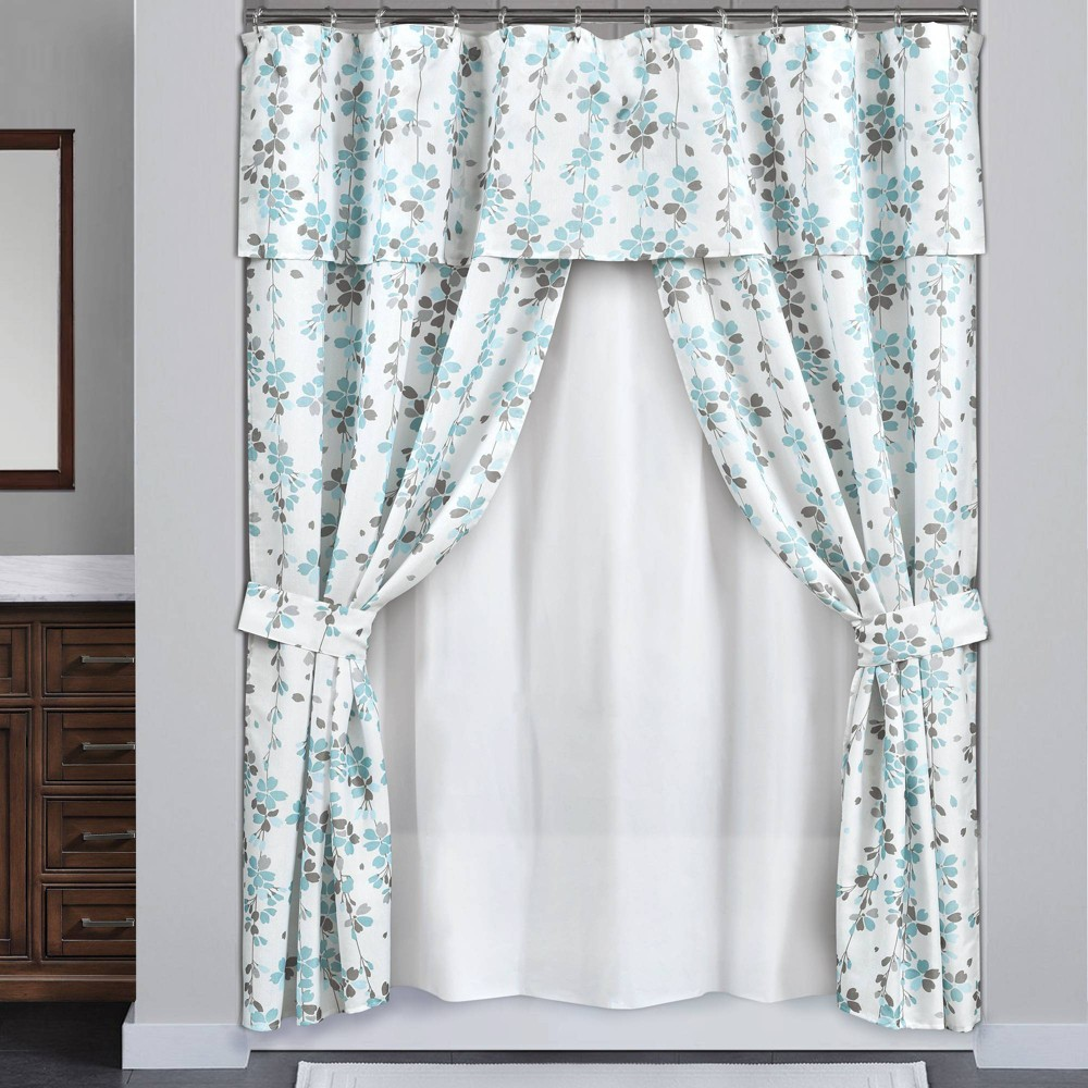 Image of 16pc Weeping Flora Double Swag Shower Curtain with Peva Lining & Rings Blue/Gray - Lush Decor