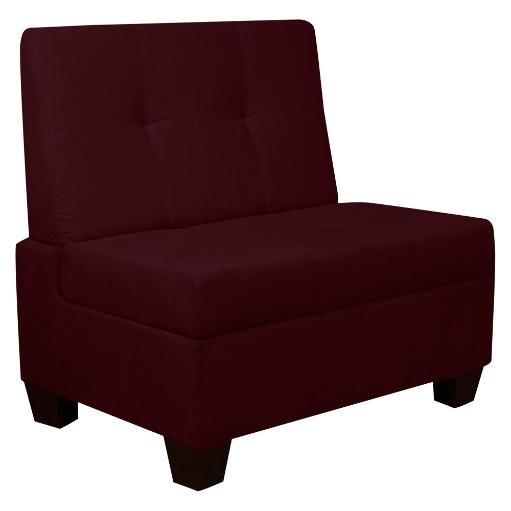 Valet Tufted Padded Hinged Storage Chair Suede Wine Red 24 Wide - Sit N Sleep, Burgandian Wine