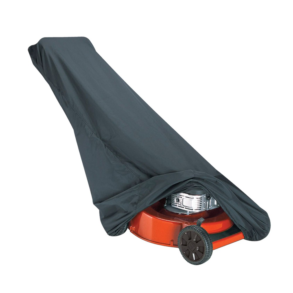 Classic Accessories Lawn Mower Cover Protect your gas or electric push mower with a Classic Accessories Lawn Mower Cover. This push mower cover is made with Weather-X fabric with water-resistant backing to keep your mower from getting wet in the rain. It also protects against UV damage, dirt, tree sap, birds and more. It has an elastic cord around the bottom for a good fit. You can close it up securely with the easy-to-use click-it closure. For convenience, the whole cover can fold up and fit into an integrated storage bag too.