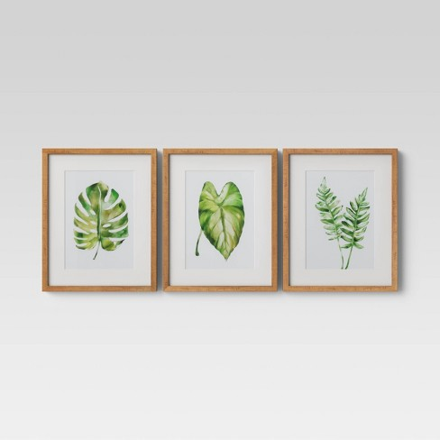 "(Set of 3) 16"" x 20"" Leaf Framed Wall Print - Threshold™ - image 1 of 4"