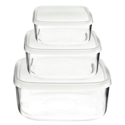 Bormioli Rocco Frigoverre 3 Piece Square Glass Food Storage Container Set