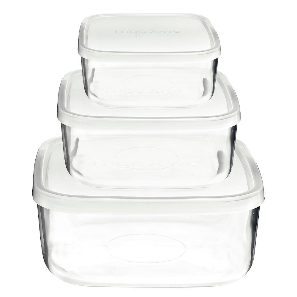 Image of Bormioli Rocco Frigoverre 3 Piece Square Glass Food Storage Container Set