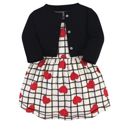Touched by Nature Baby and Toddler Girl Organic Cotton Dress and Cardigan 2pc Set, Black Red Heart