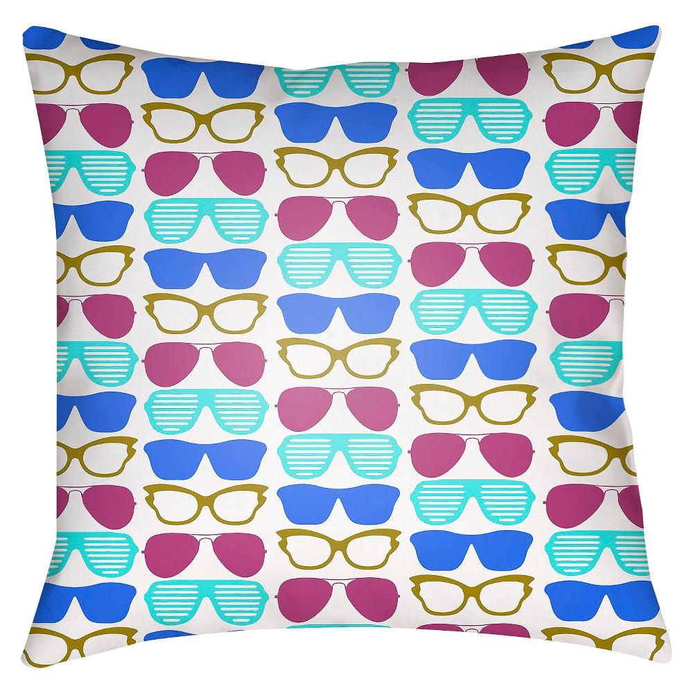 Blue Sunglasses Print Throw Pillow 18