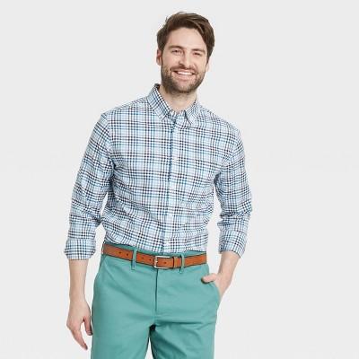 Men's Slim Fit Stretch Poplin Long Sleeve Button-Down Shirt - Goodfellow & Co™