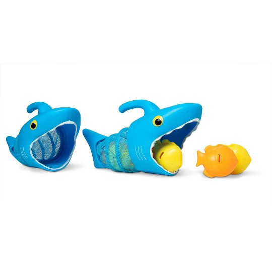 Melissa & Doug Sunny Patch Spark Shark Fish Hunt Pool Game With 2 Nets and 6 Fish to Catch image number null