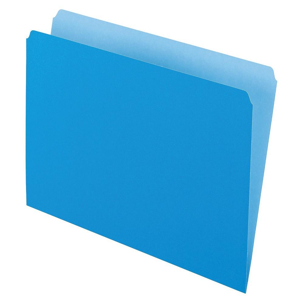 Pendaflex Two-Tone File Folders, Straight Cut, Top Tab, Letter, Blue/Light Blue, 100/Box