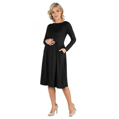 24seven Comfort Apparel Women's Maternity Midi Length Fit N Flare Dress - image 1 of 3