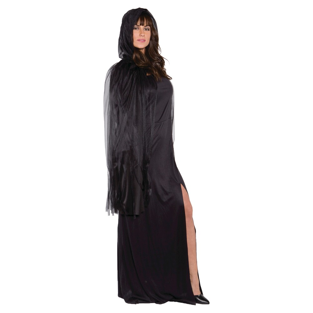Adult Ghost Cape 3/4 Black - One Size Fits Most, Women's
