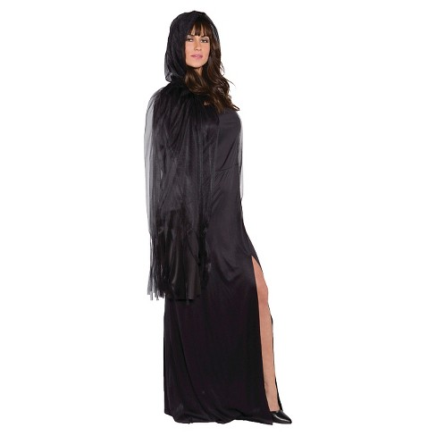 Adult Ghost Cape 3/4 Black - One Size Fits Most - image 1 of 1