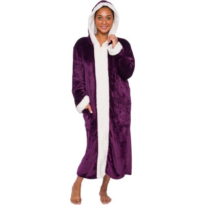 Silver Lilly - Women's Plush Zip Up Hooded Robe with Sherpa Trim