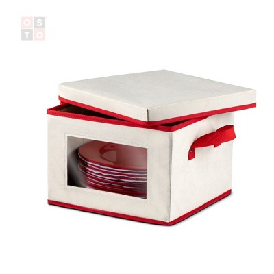 OSTO Holiday Dinnerware Storage Box with Lid; Plate Box Has Cardboard Insert, Clear Window, Handgrips; Non-Woven Fabric Color Ivory and Red