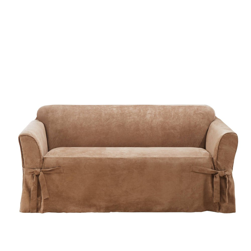 Suede Twill Loveseat Slipcover Brown Sure Fit